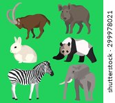 set of six colored animals goat ... | Shutterstock .eps vector #299978021
