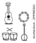 ukulele tambourine banjo and... | Shutterstock .eps vector #299980361