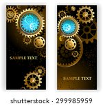 two steampunk banners with gold ...   Shutterstock .eps vector #299985959