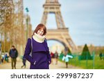 beautiful happy young tourist... | Shutterstock . vector #299987237