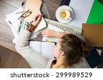 tired student girl with books...   Shutterstock . vector #299989529