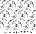 insects sketch decorative... | Shutterstock .eps vector #299990114