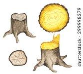 Watercolor Stump  Log  Tree...