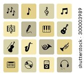 music icons. musical icon.... | Shutterstock .eps vector #300003989