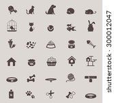 Stock vector silhouette cute animal and pet shop tool icon design set for shopping advertisement or website 300012047