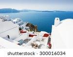 white architecture on santorini ... | Shutterstock . vector #300016034