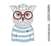 owl sailor  nautical poster ... | Shutterstock .eps vector #300018884