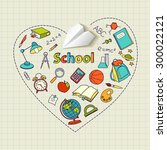 paper plane and school doodle... | Shutterstock .eps vector #300022121