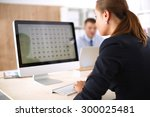 young woman working in office ... | Shutterstock . vector #300025481