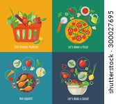 food infographic. flat style.... | Shutterstock .eps vector #300027695