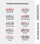 poker hand ranking combinations   Shutterstock .eps vector #300039251