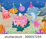 colorful illustration of marine ... | Shutterstock .eps vector #300057254