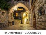 stone old city jaffa in tel... | Shutterstock . vector #300058199