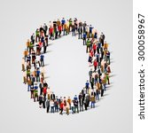 large group of people in letter ... | Shutterstock .eps vector #300058967