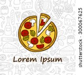 vector food concept with pizza... | Shutterstock .eps vector #300067625