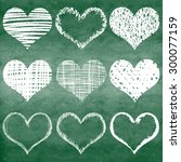 hand drawn vector heart set... | Shutterstock .eps vector #300077159