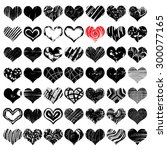 hand drawn vector heart set... | Shutterstock .eps vector #300077165