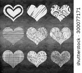hand drawn vector heart set... | Shutterstock .eps vector #300077171
