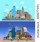 flat cartoon city set day and... | Shutterstock .eps vector #300077591