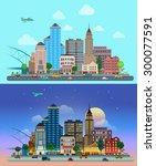 flat cartoon city set day and... | Shutterstock .eps vector #300077591