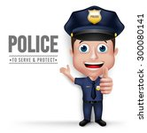 3d realistic friendly police... | Shutterstock .eps vector #300080141