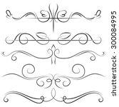 vintage set border with swirls... | Shutterstock . vector #300084995