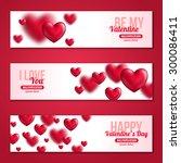 valentines day horizontal... | Shutterstock .eps vector #300086411