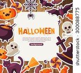 halloween background with flat... | Shutterstock .eps vector #300088775