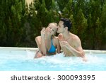 happy young couple in spa... | Shutterstock . vector #300093395
