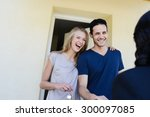 happy young couple with a real... | Shutterstock . vector #300097085