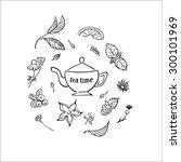 tea time set.  | Shutterstock .eps vector #300101969