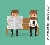 business man reading newspaper... | Shutterstock .eps vector #300104114