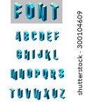 set of isometric glass font in... | Shutterstock .eps vector #300104609