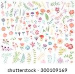 floral hand drawn vintage set.... | Shutterstock .eps vector #300109169