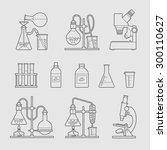 chemical glassware icons set.... | Shutterstock .eps vector #300110627