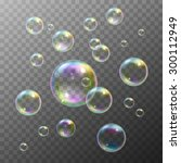 realistic soap bubbles with... | Shutterstock .eps vector #300112949