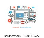 thin line flat design of viral... | Shutterstock .eps vector #300116627