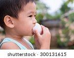 children eat boiled eggs   Shutterstock . vector #300131615