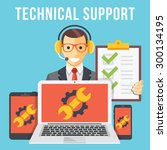 technical support flat... | Shutterstock .eps vector #300134195