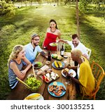 diverse people party... | Shutterstock . vector #300135251