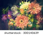 Bouquet Flowers In Oil Paintin...