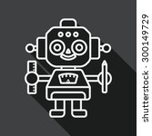 robot flat icon with long... | Shutterstock .eps vector #300149729