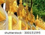 Golden Buddha In Temple  Row O...