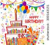 birthday card. celebration... | Shutterstock .eps vector #300163151