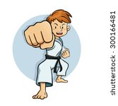 young boy practice martial arts ... | Shutterstock .eps vector #300166481