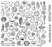 vegetables and fruits set hand... | Shutterstock .eps vector #300167504