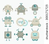 set of cute little grey and... | Shutterstock .eps vector #300171725