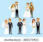 wedding couples | Shutterstock .eps vector #300173921