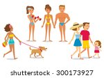 people relaxing on the beach | Shutterstock .eps vector #300173927