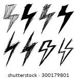 set of sketchy lightning  | Shutterstock .eps vector #300179801